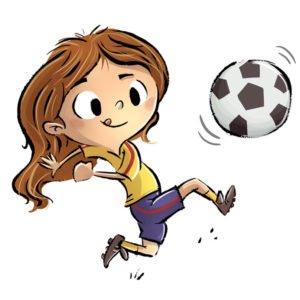 niña jugando afútbol